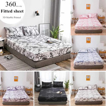 WOSTAR Marble printed elastic fitted sheet mattress cover set 3pc high quality bed sheets and pillowcase single queen king size