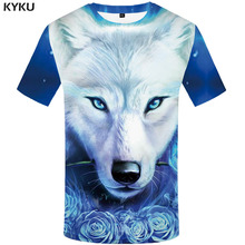 KYKU Wolf Tshirt Men Print T-shirt Animal  3d T shirt Galaxy Clothing Funny shirts Casual Punk Mens Short Sleeve summer tops