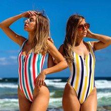 Costume da bagno intero da donna Sexy costume da bagno Bikini senza schienale con cerniera femminile costume da bagno Monokini a righe brasiliano