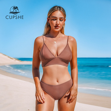 CUPSHE Brown Lace Up Bikini Sets Women Triangle Mid Waist Two Pieces Swimsuits 2020 Girl Plain Beach Bathing Suit Swimwear