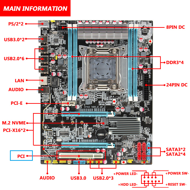 MACHINIST X79 LGA2011 motherboard LGA 2011 ATX USB3.0 SATA3 PCI-E NVME M.2 SSD support DDR3 REG ECC memory Xeon E5 V3 processor 3