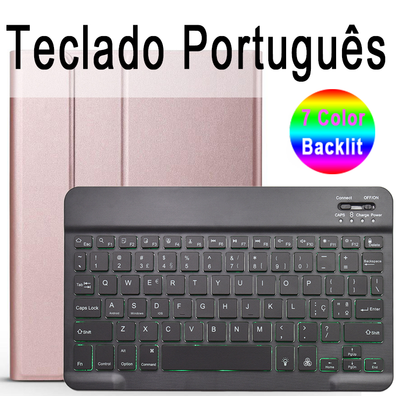 Portuguese Keyboard Navy For iPad 10 2 2019 7 7th 8th Generation A2200 A2198 A2197 Case with Backlit Keyboard