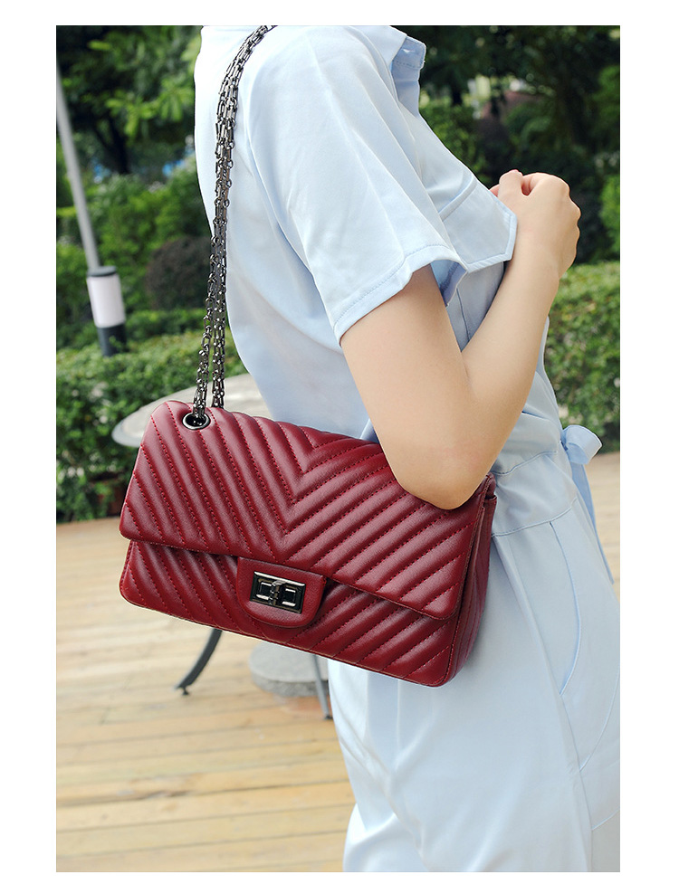 2019 Fashion Quilted Leather Chain Handbag Womens Luxury Shoulder Bags Branded Famous Black Double Flap Crossbody Bag for Women (14)