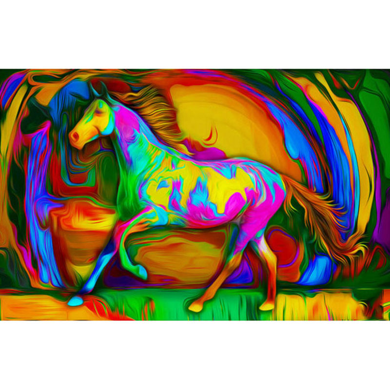 New Deisgn Full Square Round Drill 5D DIY Diamond Painting Full Drill Colorful Horse Mosaic Full Embroidery Home Decor Crafts in Diamond Painting Cross Stitch from Home Garden