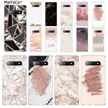 MaiYaCa marble Gold Rose Glitter Love mobile Phone Case for Samsung S7 EDGE S8 S9 S10 S20 PLUS S10 LITE S10 5G image