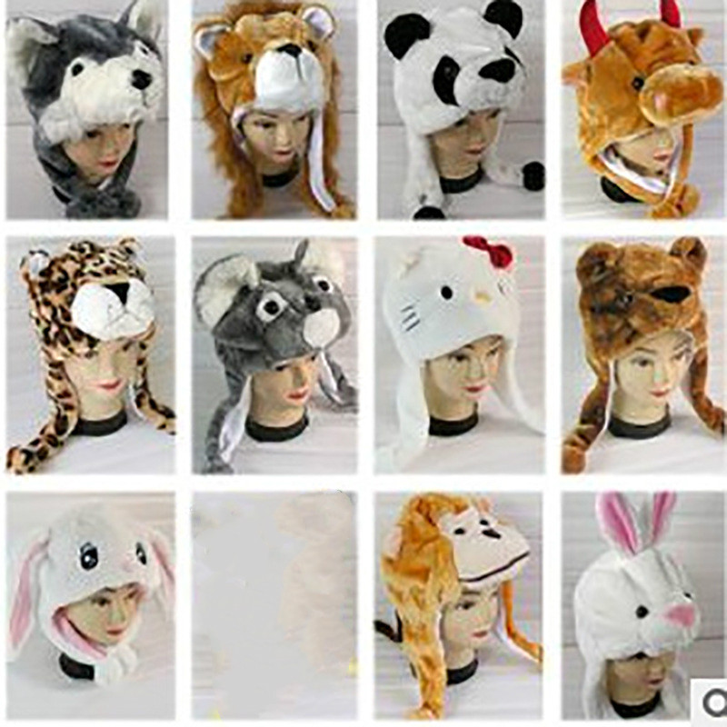 Cute Bunny Plush Cartoon Animal Hat Simulation Animal Hat Warm Earmuff Children's Performance Props For Kids And Adult