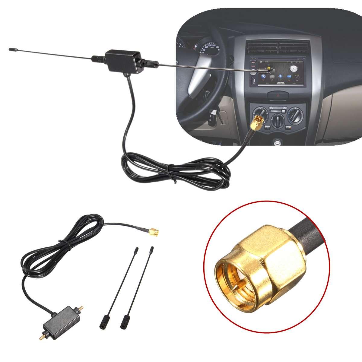 Universal Car Digital TV Antenna 5ft In Car Radio Digital DVB-T ISDB-T TV Signal 6dBi Antenna 433 MHZ Amplifier 9 -