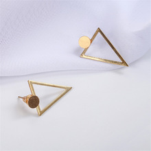 simple triangle long thin face Earrings creative personality small round alloy earrings earrings retro silver harajuku sexuality personality earrings spoon fork triangle ruler scissors earrings