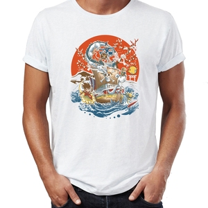 Men T Shirt Japanese Anime Gaming Icons Goku Link picachu Luffy One Piece Awesome Artwork Drawing Printed Tee Short Sleeve Tee(China)