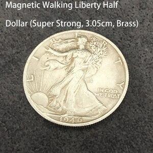 Магнитная ходьба Свобода Половина доллара (супер сильный, 3,05 см, латунь) Волшебная монета для фокусов, появляющаяся Магическая иллюзия, трюк...