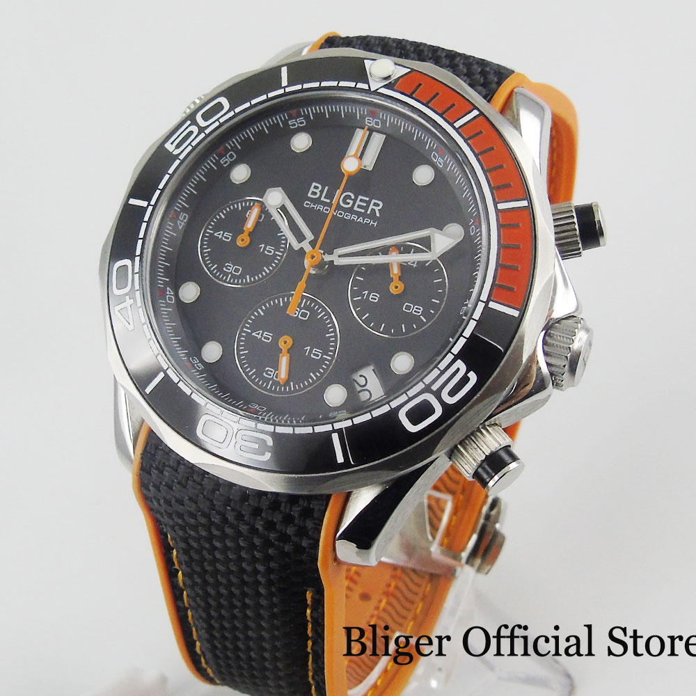 Quartz Watch BLIGER Brand Sapphire Glass Date Chronograph Function Rotating Bezel Rubber Strap 31mm Silver Case