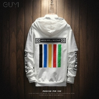 GUYI Striped Rinbow Color Print Hoodies Men Off Fake Two Pieces Drawstring Rib White Pullovers Black Fashion Casual Streetwear