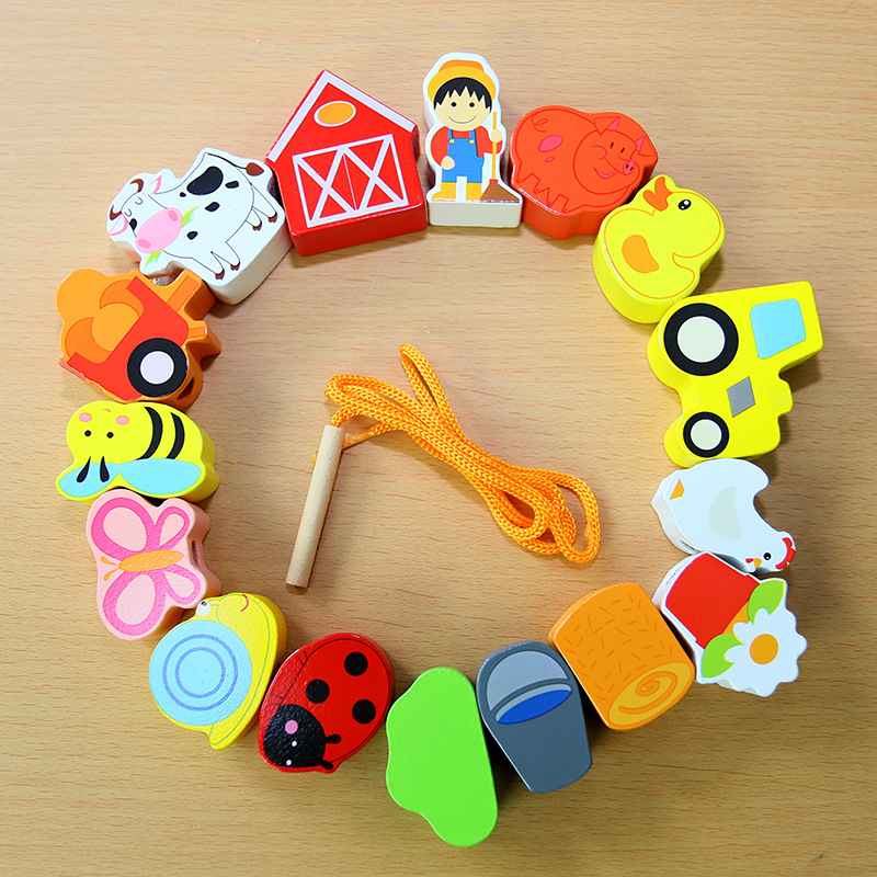 Wooden Large Particles Children City Building Blocks Beaded Bracelet Baby Cross Wiring Wearing Rope Wear Beads Interactive Educa