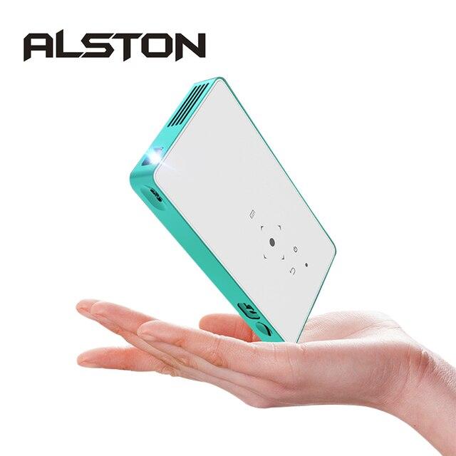 ALSTON Mini projektor HD P8 DLP projektor 80ANSI lumen leicht zu tragen hause 1080P projektor mit batterie video beamer