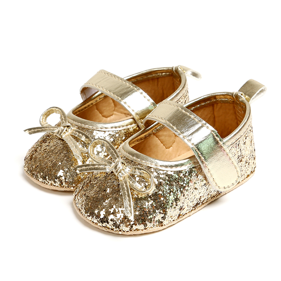 3Color Newborn First Walkers PU Leather Soft Sole Crib Shoe Newborn Baby Shoes Sequins Baby Girls Summer Princess Shoes 2020y L