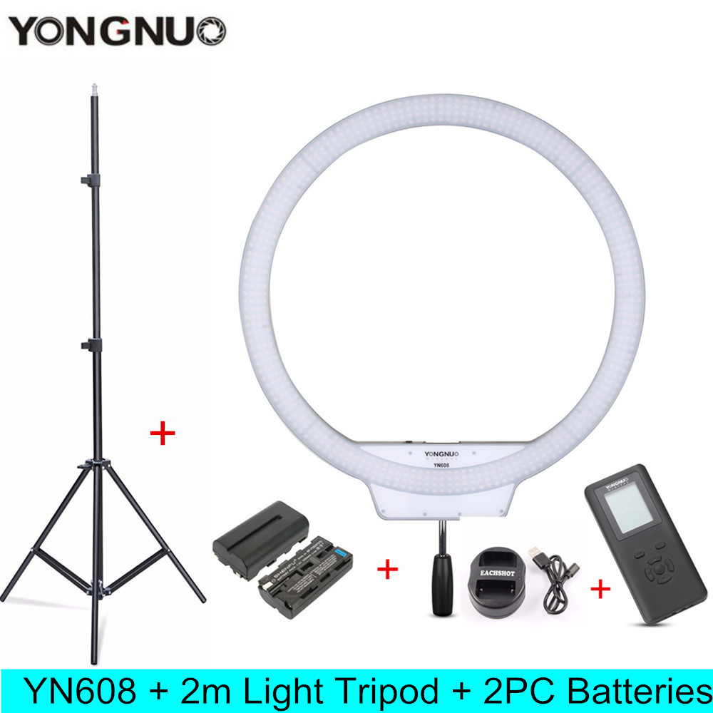 YONGNUO YN608 5500K LED Selfie Photography Photo Studio Ring Light Kit With Remote & CRI 95+ 608PCS LED Annual Lamp For Youtube