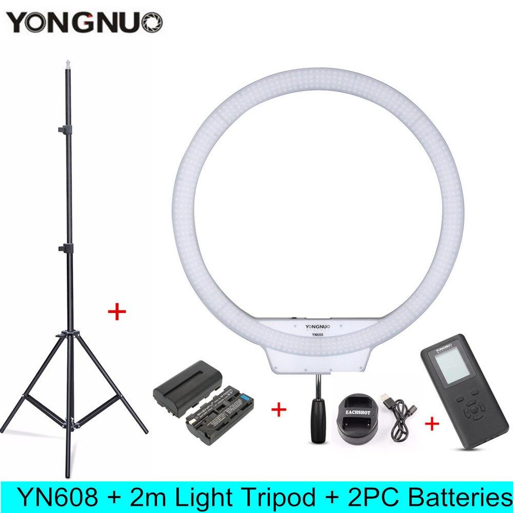 YONGNUO YN608 5500K LED Selfie Photography Photo Studio Ring Light Kit With Remote CRI 95 608PCS