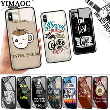 ok but first coffee Glass Phone Case for Apple iPhone 11 Pro XR X XS Max 6 6S 7 8 Plus 5 5S SE