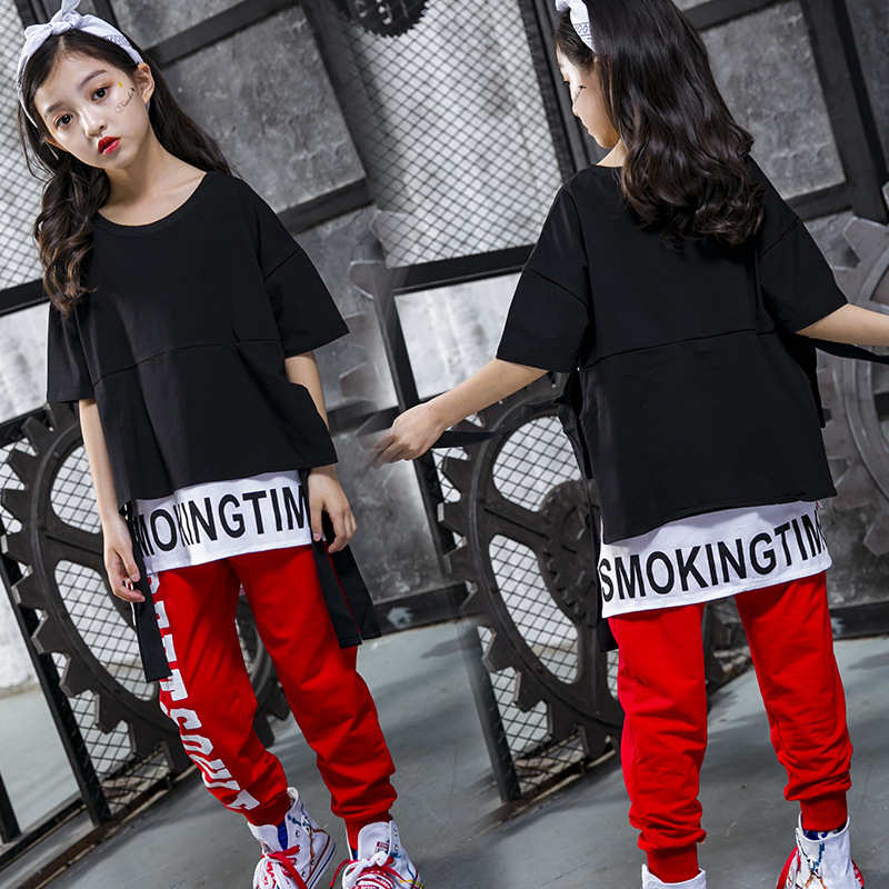 Hip Hop Kids Dancing Costumes For Girls Boys Children Party Show T Shirts Pants Jazz Clothes Ballroom Dance Costumes Stage Wear