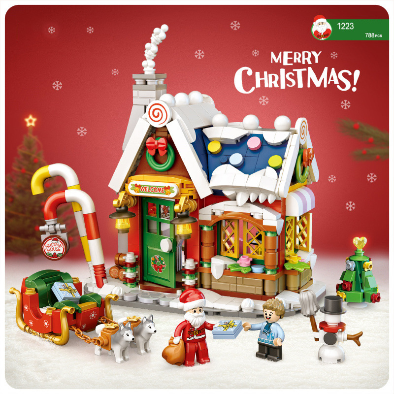 City street view mini block Christmas House building brick Santa Claus figure streetscape educational toy for children gift