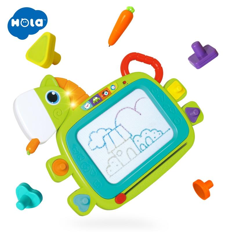 HOLA TOYS 3131 nouveaux jouets de planche à dessin allument coloré stylo peinture tablette effaçable Doodle croquis peinture lueur dans le jouet sombre