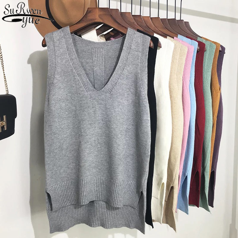 New Fashion Sweater Vest Women V-Neck Casual Brown Sweater Vest Casual Office Lady Sleeveless Knitted Vest Women 16 Colors 11983