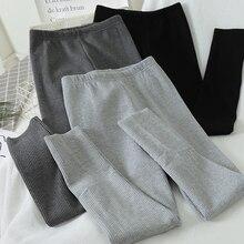 Legging Straight-Leg-Pants High-Waist Underwear Trouser Skinny Casual Cotton Solid Women