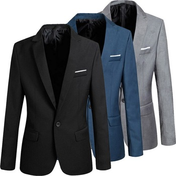Luxury Men Slim Fit Office Blazer Jacket Fashion Solid Mens Suit Jackets Wedding Dress Coat Casual Business Male Suit Coats 2019