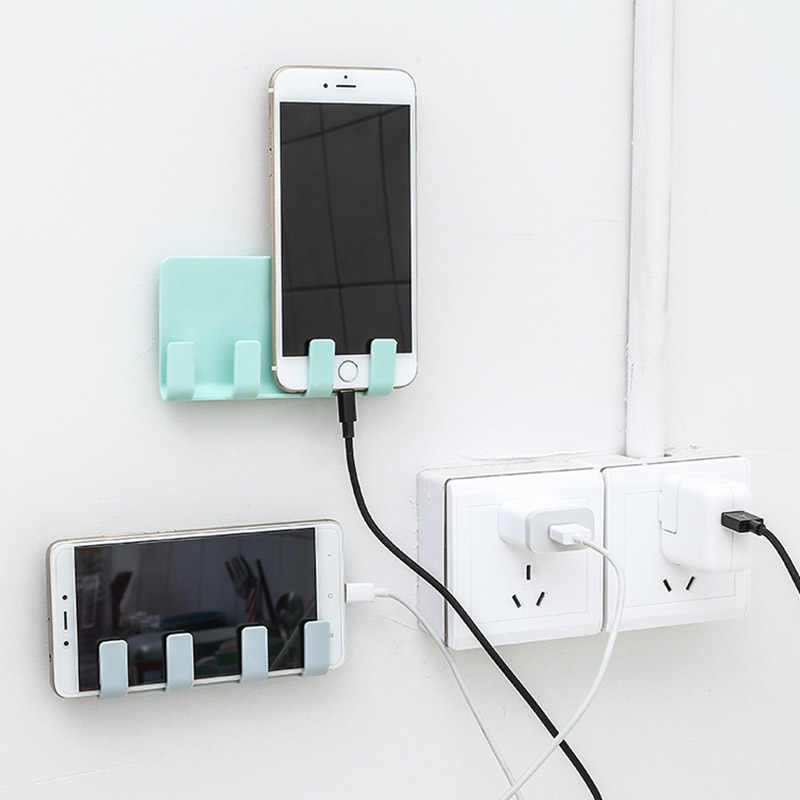 Paste Style Toothbrush Rack Mobile Phone Charging Bracket Cradle Wall 4Hook Cell Phone Charging Holder Storage Hanger for IPhone