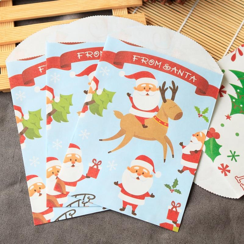 12pcs Christmas Santa Claus Paper Envelope Cute Christmas Tree Paper Gift Bag Xmas Party Decoration Invitation Envelope