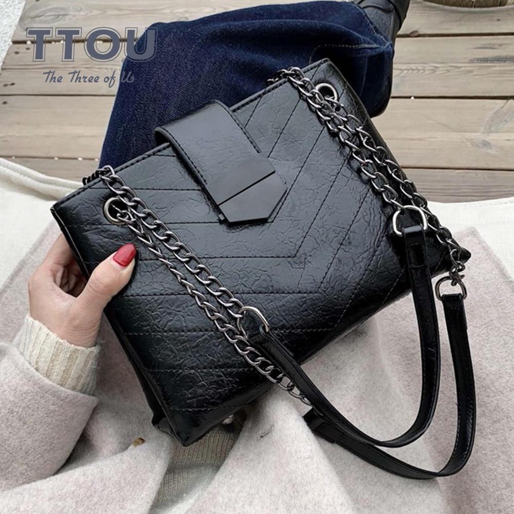 Fashion PU Leather Crossbody Bags For Women 2020 Chain Simple Mobile Phone Shoulder Bags Designer Ladies Luxury Quality Handbag