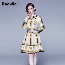 Banulin Spring Summer Fall Vintage Baroque Print Mini Dress Womens Fashion Holiday Party Celebrity Runway luxury Short Dresses