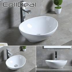 CellDeal, conjunto de lavabo de cerámica Oval, 410x335x145mm, lavabo de cerámica, lavabo de diseño blanco, encimera de cerámica, lavabo de cerámica