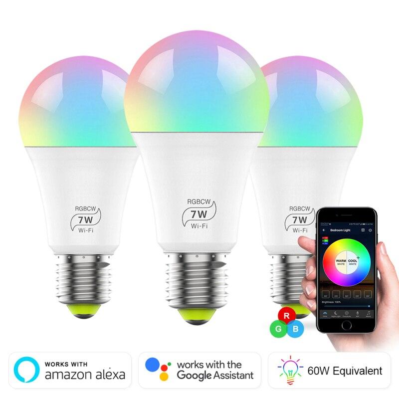 Magic 7w e27 rgb wifi led lâmpada inteligente, sem fio smart home automação, lâmpada compatível com alexa google home, 85-265v