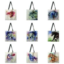 Watercolor horse linen shopping bag ladies shoulder bag fold
