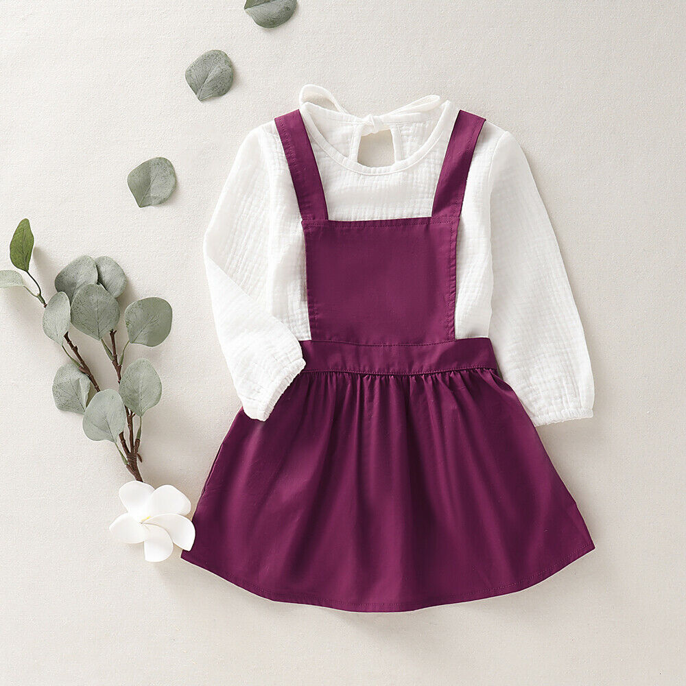 1-6T Little Girls Princess Outfits Baby Kids Girls Long Sleeve Blouse Tops+<font><b>Bib</b></font> <font><b>Skirt</b></font> Overall Outfit Clothes Sets image