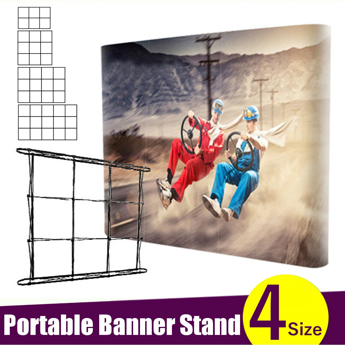 Folding 4 Sizes Portable Banner Stand Wedding Party Wall Frame Backdrop Display Presentation Advertising Rack Stand Holder