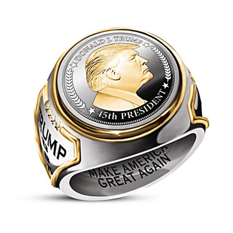 Лидер продаж, кольцо с Президентом США Трампом, двухцветное Европейское ювелирное изделие в стиле хип-хоп для мужчин