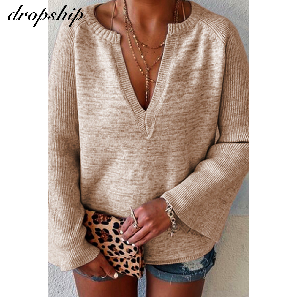 Knitted Sweater 2019 Women Streetwear Casual V Neck Long Sleeve Pullovers Loose Solid Coat Autumn Winter Fashion Women's Sweater