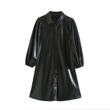 Fashion Women Black Color PU Leather Mini Dress Lantern Long Sleeve Streetwear F