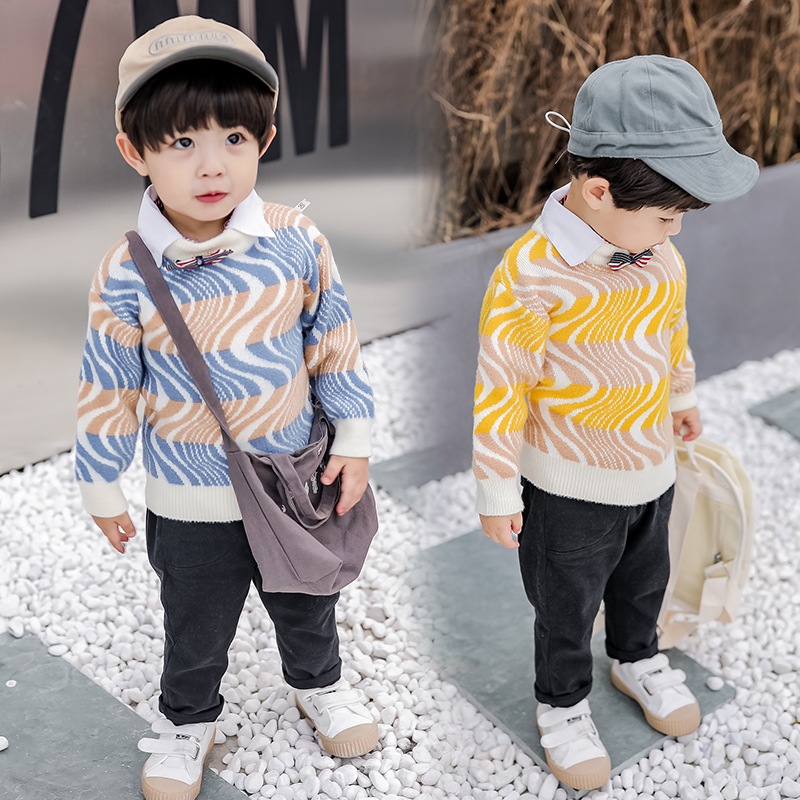 Boys Sweaters Knitted 2019 British Style Kids Pullover Jumper Toddler Shirt Collar Children Fall Autumn Winter 18M to 7 Years
