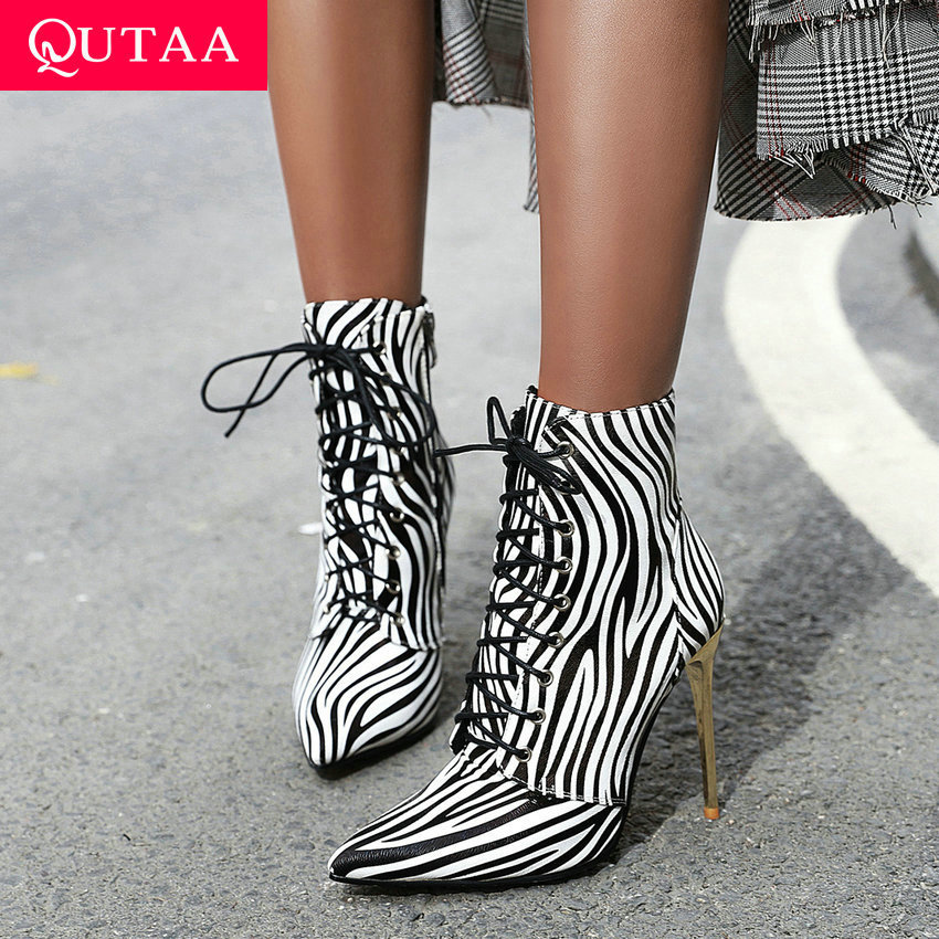 QUTAA 2020 Thin High Heel Sexy Pointed Toe Autumn Winter Women Shoes Fashion PU Leather Leopard Lace Up Ankle Boots Size 34-43