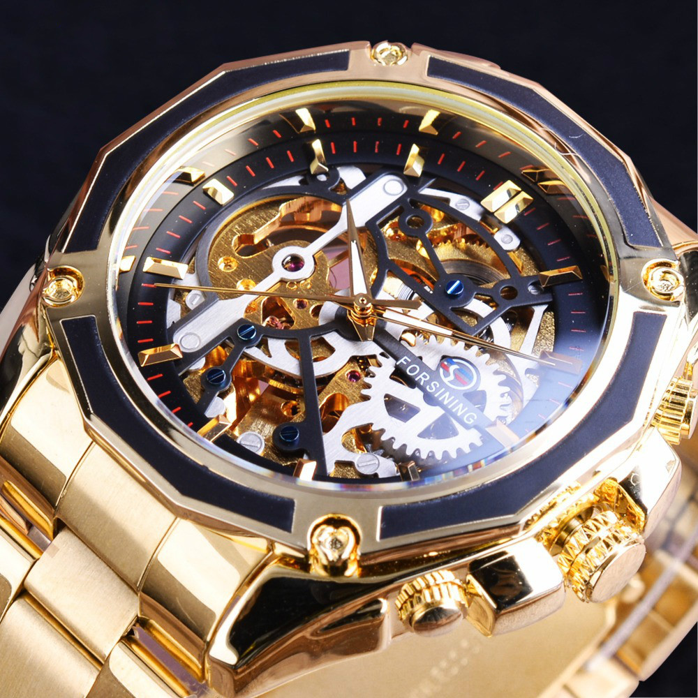 automatic mechanical watch steel band hollow waterproof night light men's watch men's mechanical watch mechanical watches women