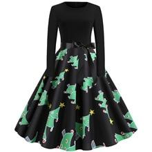 S~2XL Christmas Dress Women Print Slim Vintage Casual Long Sleeve Elegant Fashion Party Dresses Autumn 2019