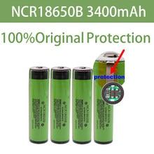 100% original protegido 18650 ncr18650b recarregável li-ion bateria 3.7v com pcb 3400mah para lanterna 18650 baterias uso