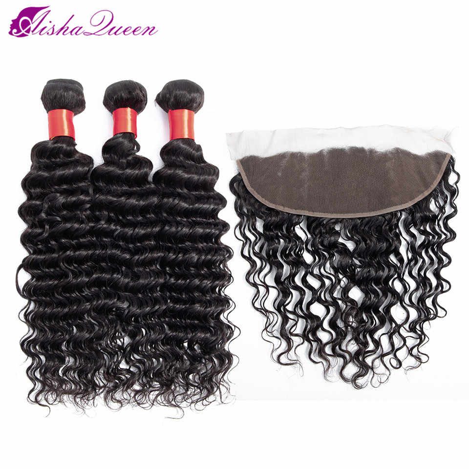 Aisha Queen Hair Deep Wave Bundles With Frontal Peruvian Hair Bundles With Closure Non Remy Human Hair Bundles With Closure