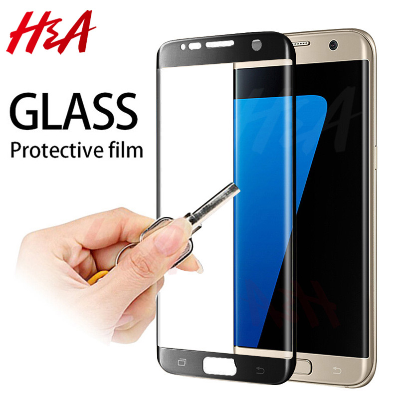 H&A 5D Curved Edge Full Cover Protective Glass On The For Samsung Galaxy S7 S6 Edge Tempered Screen Protector S7 Edge Glass