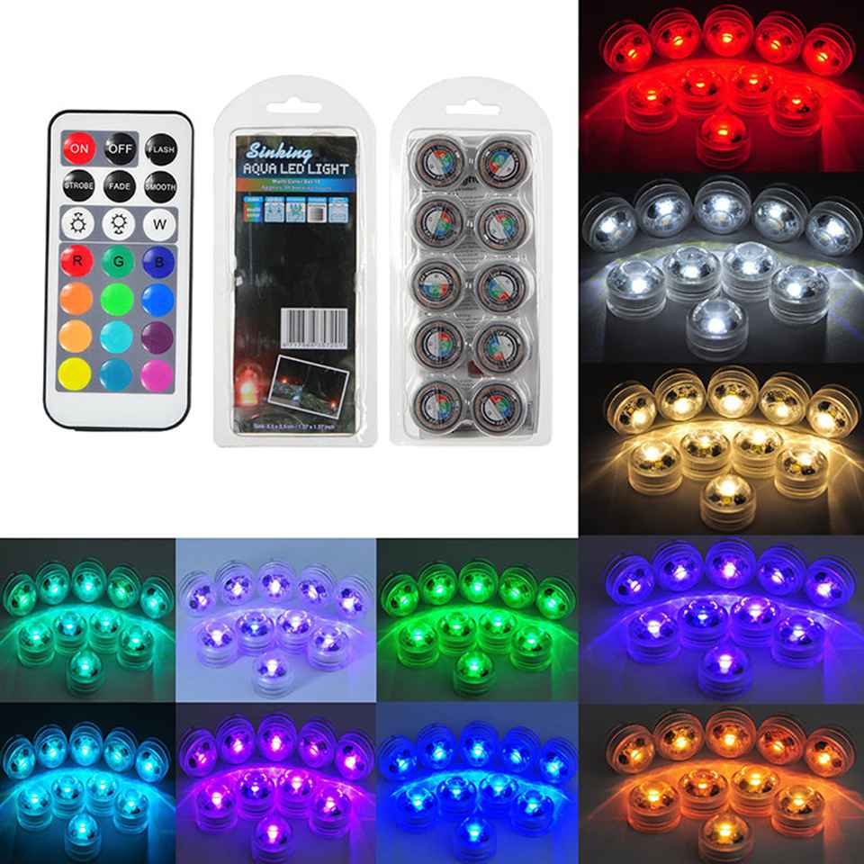 IP68 Waterproof Battery Operated Multi Color Submersible LED Underwater Light For Fish Tank Pond Swimming Pool Wedding Party