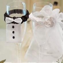 2PCS Cup Decor Bride Groom Tux Bridal Veil Wedding Party Holiday Toasting Wine G