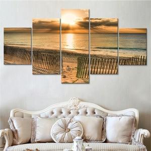 Hd impresso cartaz sala de estar decoração seaside sunrise praia seascape pinturas modulares da lona quarto arte parede quadros quadro